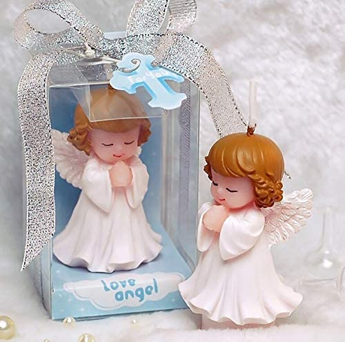 Sweet Homes & Gardens Hand-Carved Mini Baby Angel Candle Cake Topper Scented Candle Wedding Party Decoration Baby Shower Favor(in Gift Box) (Girl)