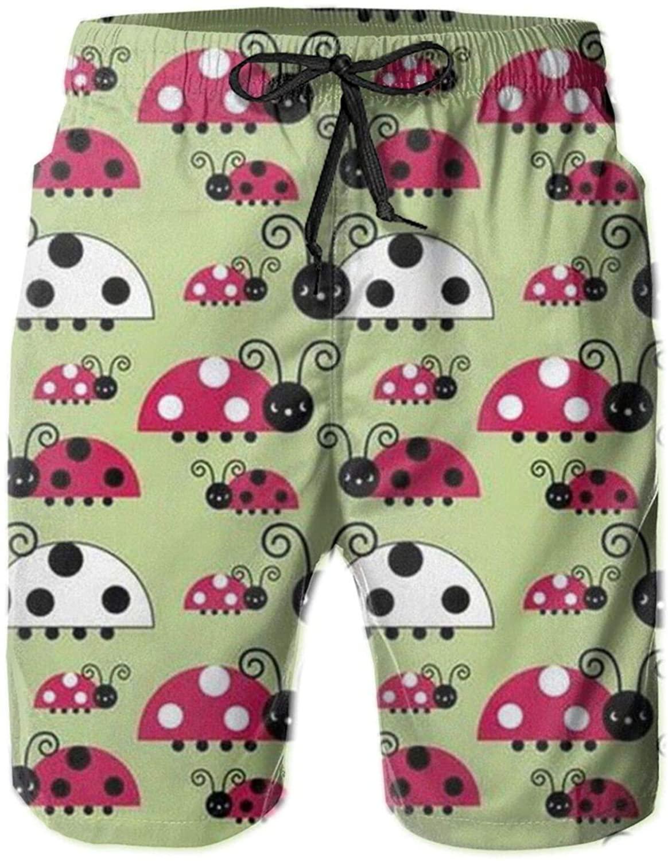 Neddelo Ladybug Men's Shorts,Men's Swim Trunks Swimwear Shorts with Mesh Lining and Pockets White