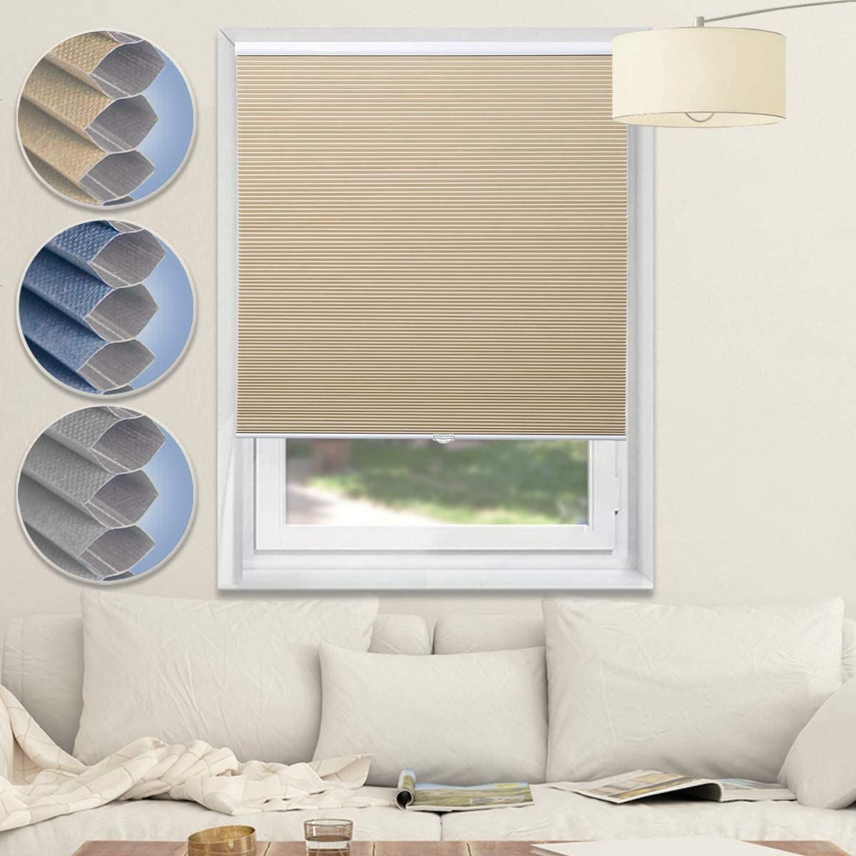 Cordless Blinds Blackout Shades Cellular Window Shades Honeycomb Blinds for Bedroom Kitchen Bathroom, Beige-White, 27x64