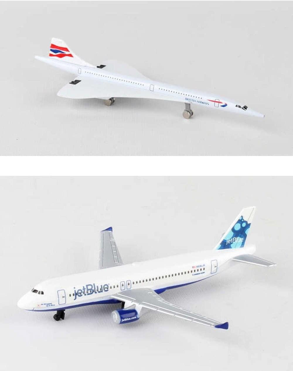 Daron British Airways Concorde, Jetblue Airlines Diecast Airplane Package - Two 5.5