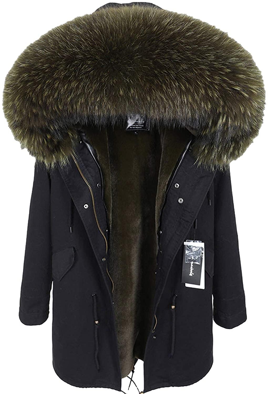 Real Raccoon Fur Collar Coat Women's Clothing Long Thick Warm Coat 5 S