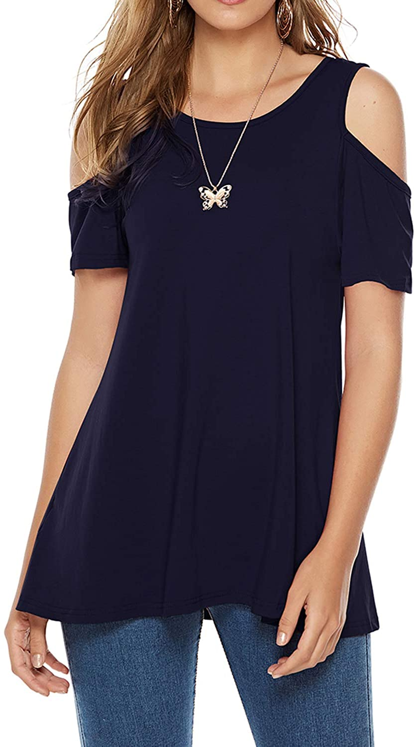 CEASIKERY Women's Casual Cold Shoulder Tunic Tops Loose Blouse Short Sleeve Shirts
