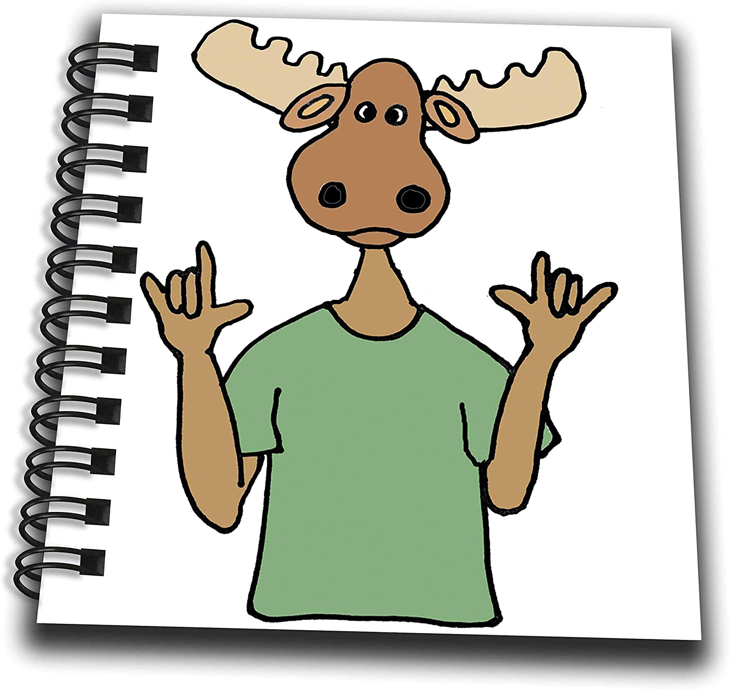 3dRose Funny Cute Moose Signing I Love You Sign Language Cartoon - Drawing Books (db_328021_3)