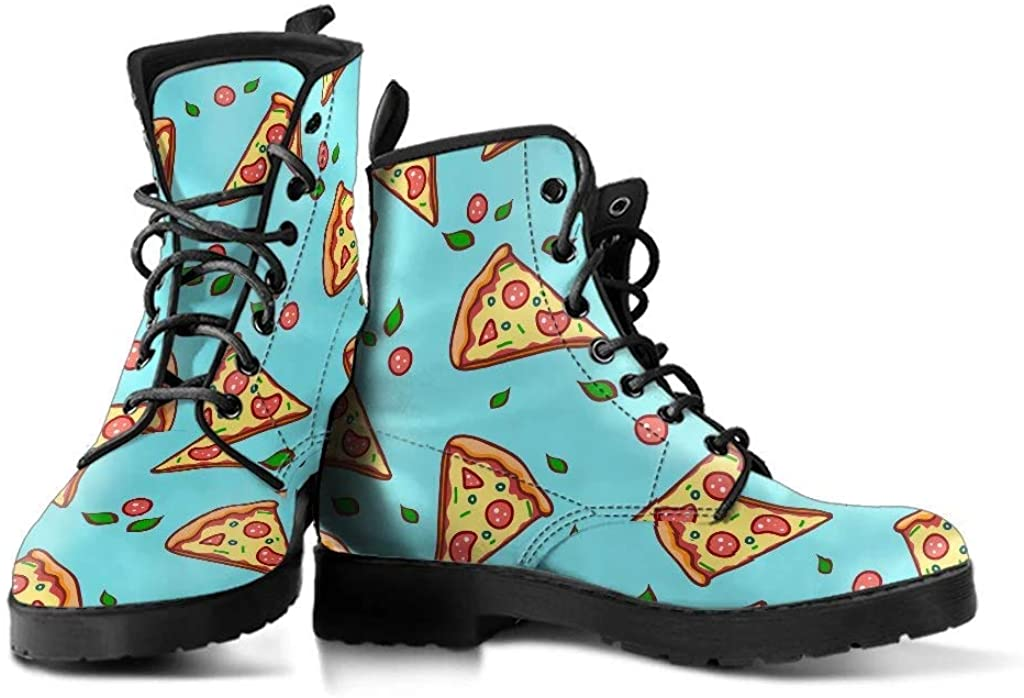 Funky Foxes Closet Pizza Slices Pattern Hancrafted Womens Ankle High Vegan Leather Fashion Boots