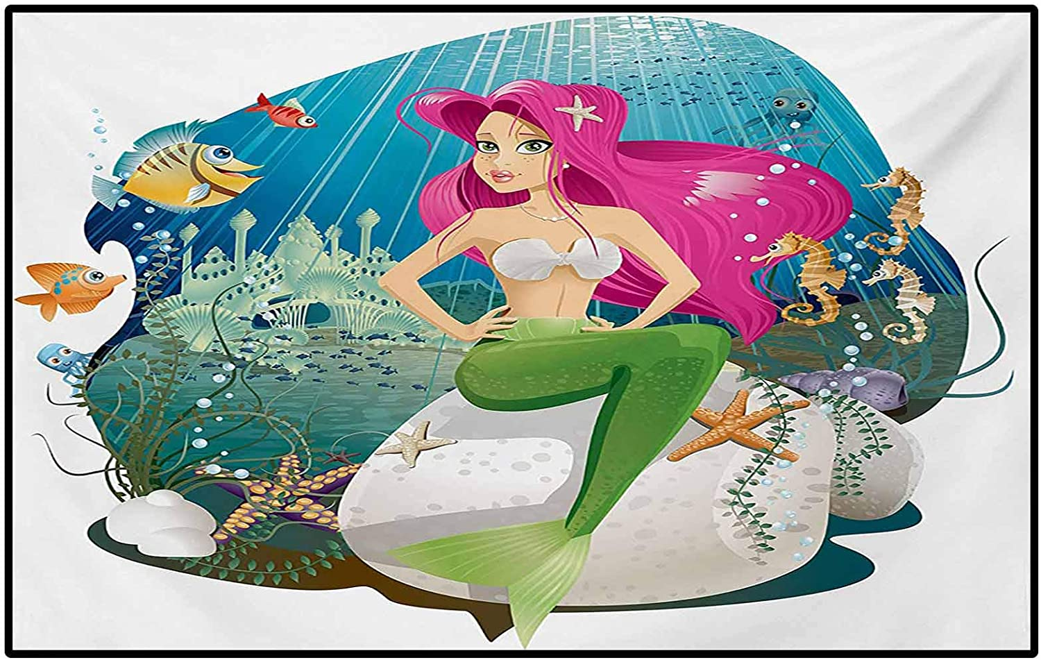 Underwater Outdoor Patio Rug Laundry Room Rug Illustration of a Mermaid and her Underwater World Colorful Landscape Print for Children Bedroom Home Decor Nursery Rug Multicolor 6.5 x 9.8 Ft