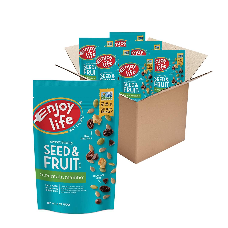 Enjoy Life Seed & Fruit Mix, Peanut Free Trail Mix, Soy Free, Nut Free, Gluten Free, Dairy Free, Non GMO, Vegan Snack Mix, Mountain Mambo, 6 - 6 oz Packs