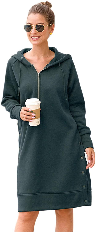Andongnywell Women's Hooded Long Sleeve Long Slit Sweater Women's Autumn Snap Button Dress Hoodies Long Jackets