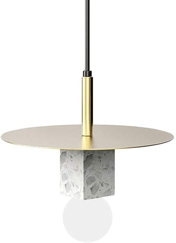 HTLLT Marble Ceiling Pendant Light Nordic Post-Modern Wrought Iron Chandelier Terrazzo Chandeliers Bulb E27 Lamp Holder Warm and White Light Suitable for Dining Room Living Room,5Wwarmlight