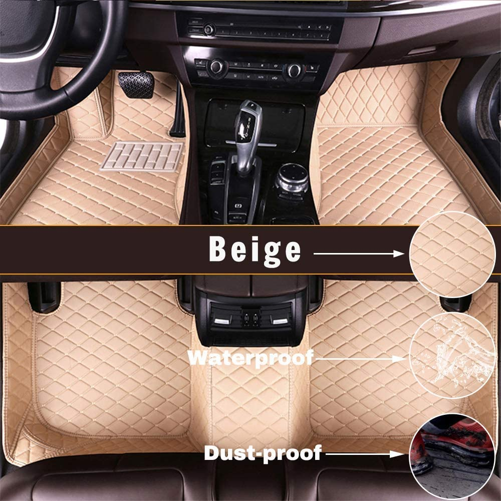 Maidao Custom Car Floor Mats for BMW X5 E70 5-Seats 2008-2013 Can Be Customized for 99% of Car Models Can Be Customized Pattern Or Logo Waterproof Non-Slip Leather Liner Set Beige