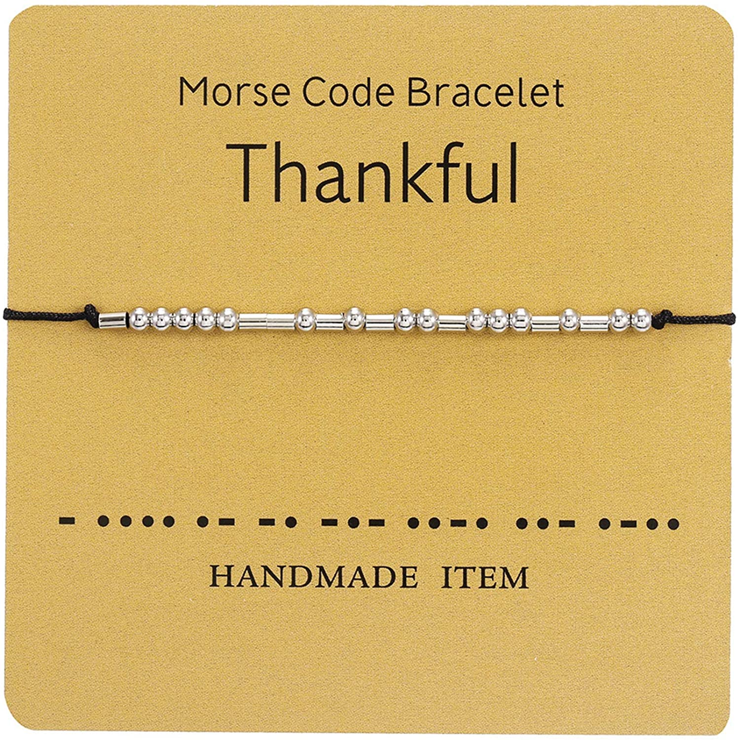 MRSXXNTY 2020 Thanksgiving Morse Code Bracelet Bad Ass Adjustable Bracelet Beads on Silk Cord Friendship Inspirational Jewelry Gifts for Her