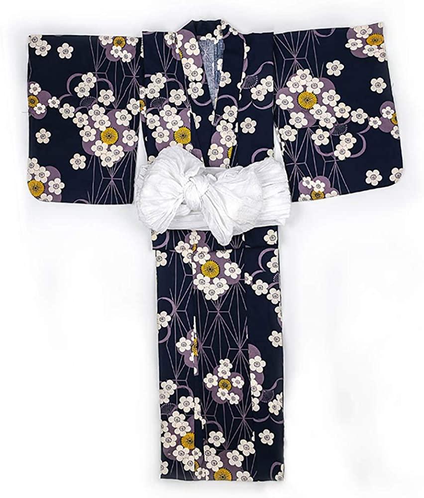 Women's Floral Print Traditional Japanese Kimono Goldfish OBI Belt Blossom Yukata Robe Costume Set