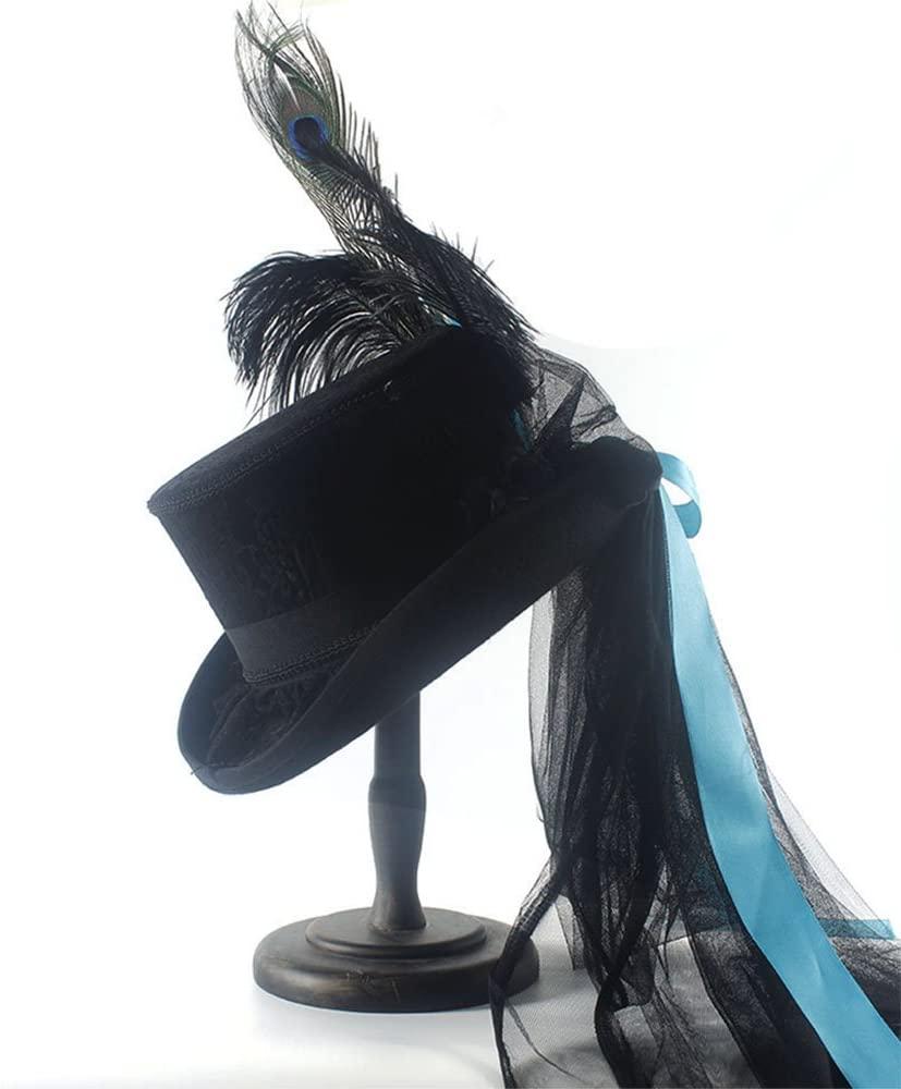 Bin Zhang Steampunk Gothic Black Rabbit top hat (Color : Black, Size : 55CM)