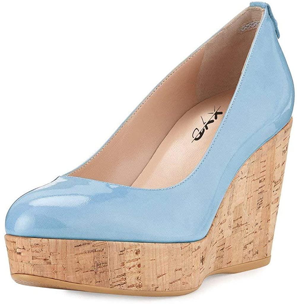 XYD Women Comfort Round Toe Platform Pumps Slip On Patent Wedge Cork High Heel Shoes