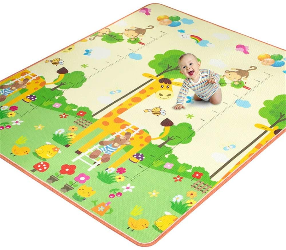 YADSHENG Children's Play Mat Baby Foam Play Mat Foldable Waterproof Reversible Playmat Game Mat for Toddlers and Kids Non Toxic Baby Gyms & Playmats (Color : D01, Size : 180x200x1cm)