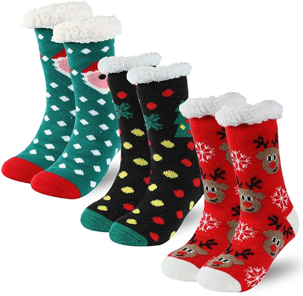 Christmas Slipper Socks with Grippers, Unisex Winter Thick Warm Thermal Grip Socks for Cold Weather Time and River