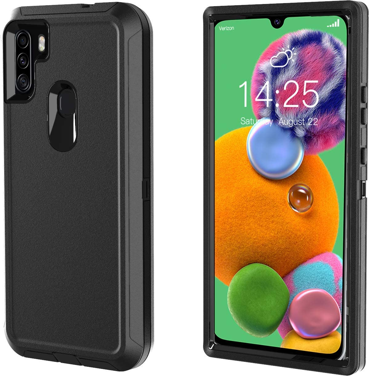 Phone Case for Galaxy A11- Dual Layer Full Body Shockproof High Impact Protective Hard Plastic Soft TPU with Tough Phone Cover Cases for Samsung A11 Case (Black)
