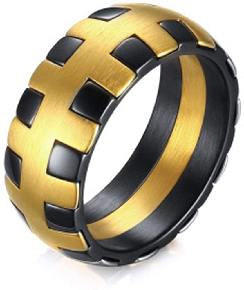 FOXI YOUTH 9MM Wide Round Shape Mens Gold Black Gear Stainless Steel Wedding Band Rings