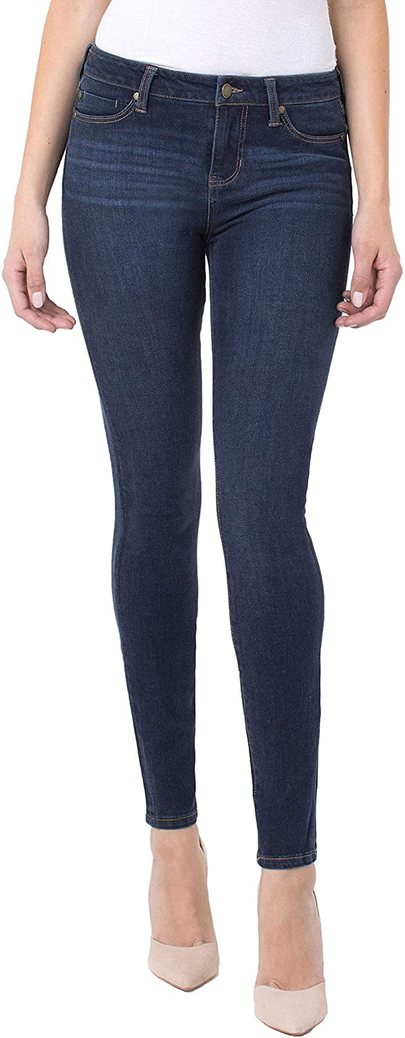 Liverpool Women's Abby Skinny 5 Pocket Mid Rise with Shaping and Slimming 4-Way Stretch Denim Jean