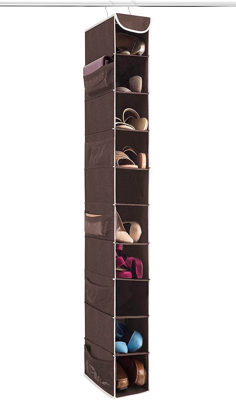 ZOBER 10-Shelf Hanging Shoe Organizer (1 Pack) Hanging Closet Shoe Organizer with Side Mesh Pockets, Space Saving Shoe Holder & Storage, Closet Organizer Great for Shoes, Purses, Handbags Etc.