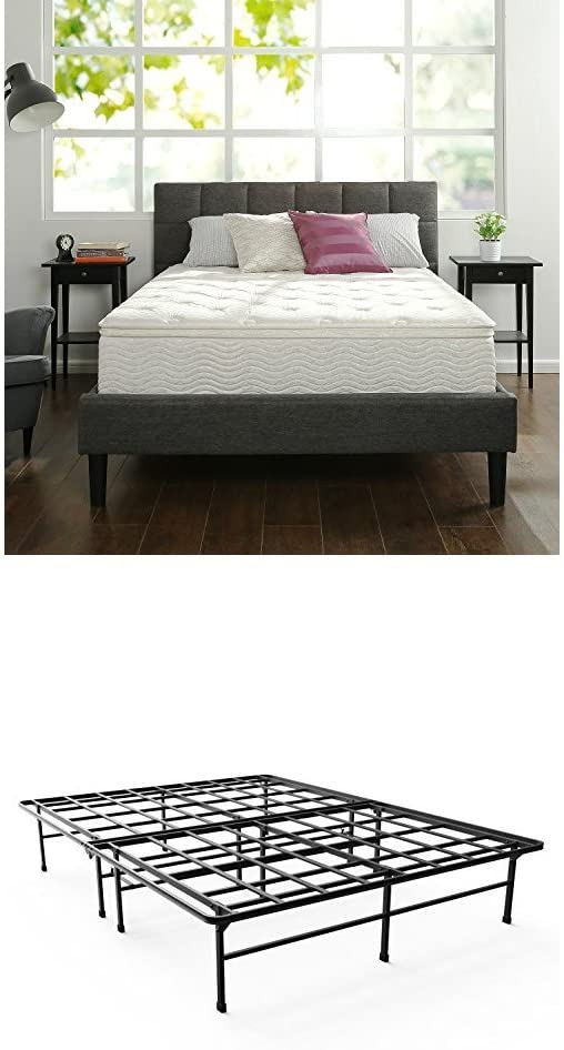 Zinus 12 Inch Euro Box Top Hybrid Green Tea Foam and Spring Mattress, Queen & Zinus 14 Inch Elite SmartBase Mattress Foundation / for Big & Tall / Extra Strong Support / Platform Bed Frame