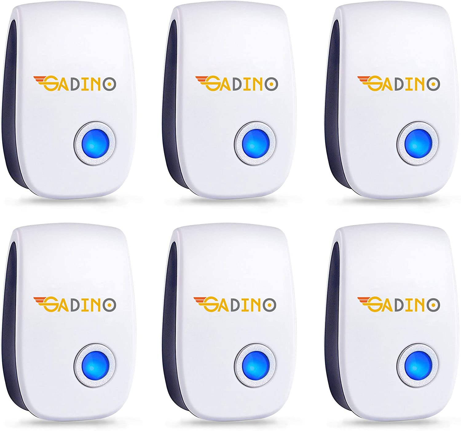 GADINO Indoor Ultrasonic Pest Repellent - Indoor Plug, Electronic and Ultrasound Repeller - Insects, Mice, Spiders, Mosquitoes, Bugs Control (Pack of 6)