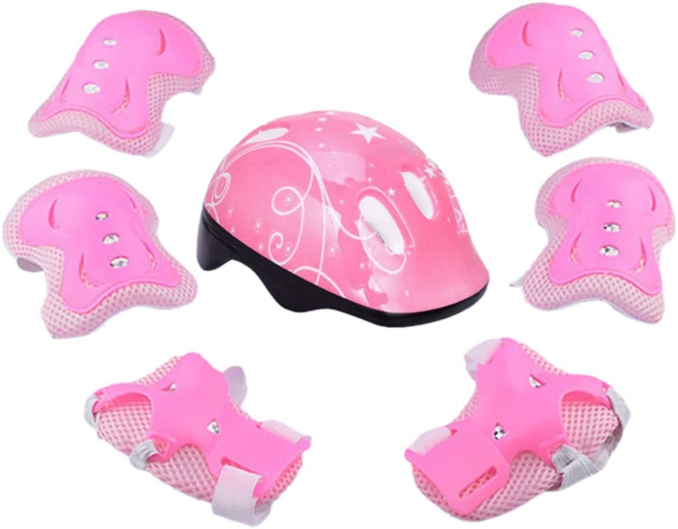 7pcs Helmet and Pads for Kids, Bike Skateboard Helmet, Outdoor Sports Protection Gear Set, Boys Girls Safety Wrist Guards, for Bike, Roller Skating, Cycling, Scooter