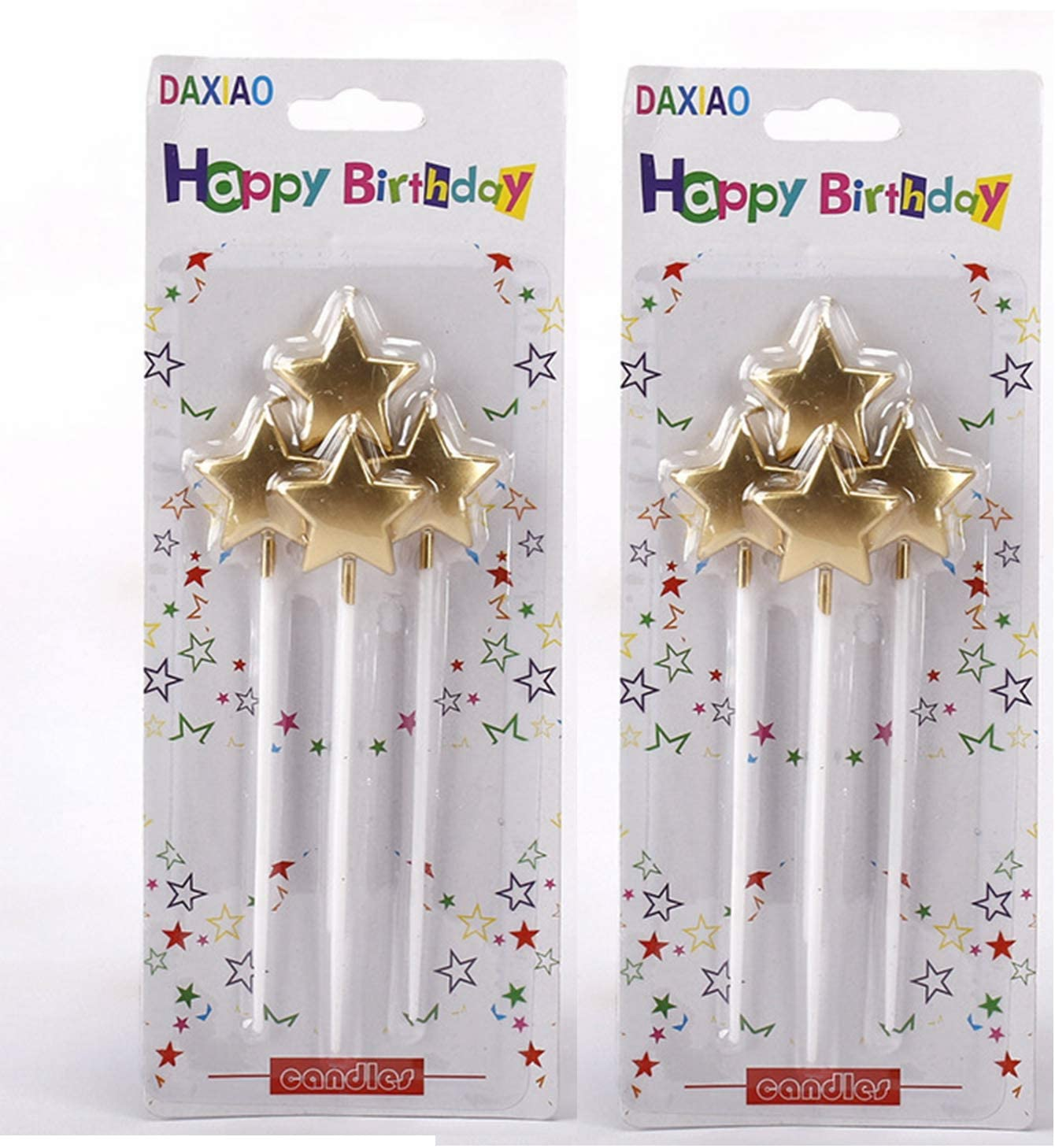 Twisty Birthday Candles 24/40 Set Metallic Colorful Curly Coil Candles with Holders Creative Cake Cupcake Candles Fun Long Thin Wedding Kids Party Supplies Anniversary (Star candles8)