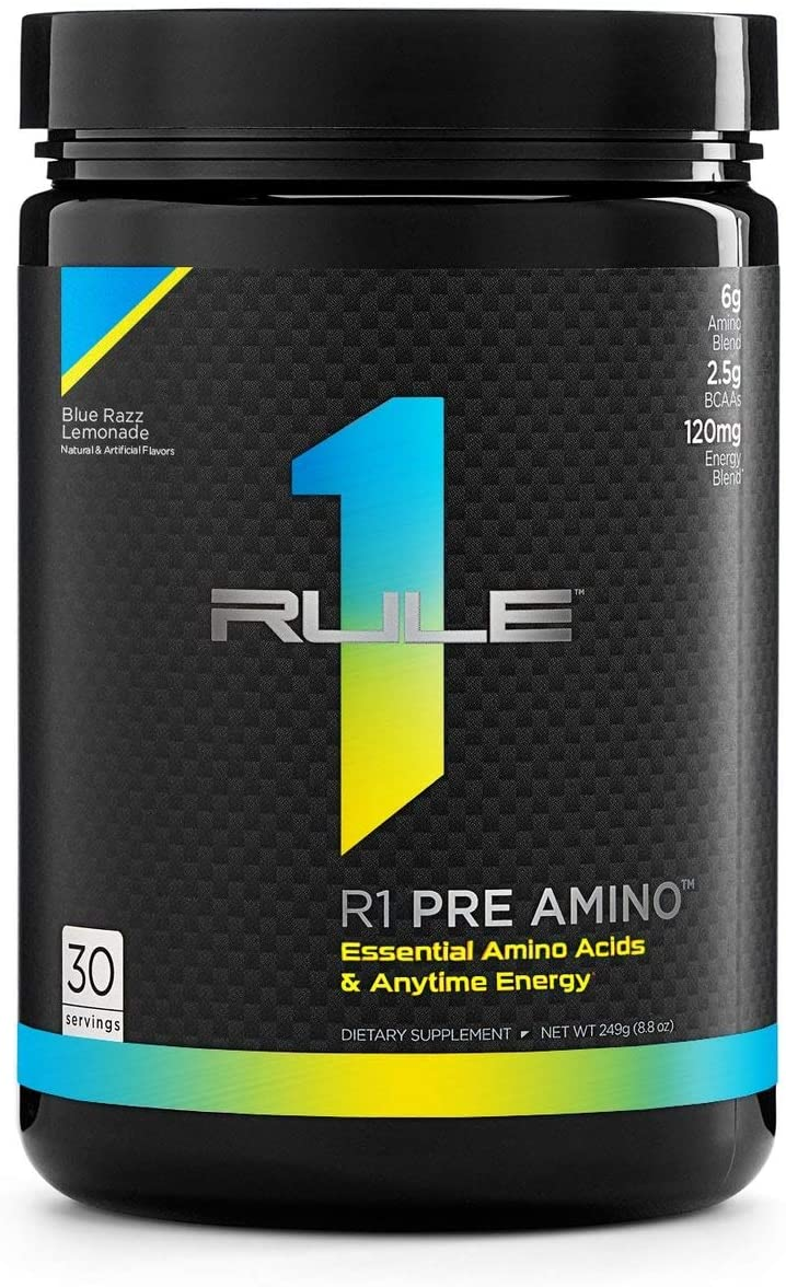 Rule 1 Proteins RU0443 Pre Amino 30 Serving Blue Razz Lemonade, 252 Grams