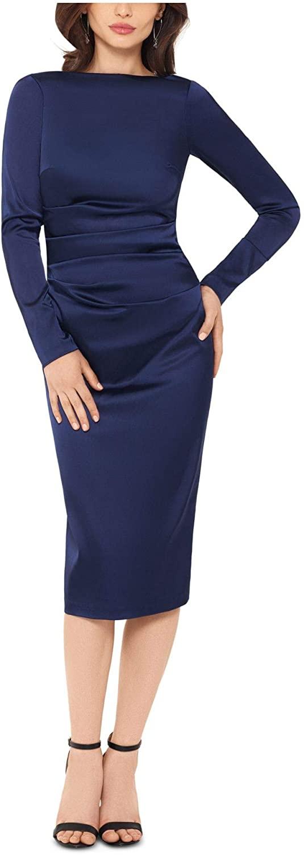 Betsy & Adam Womens Navy Long Sleeve Jewel Neck Midi Body Con Wear to Work Dress Size 4