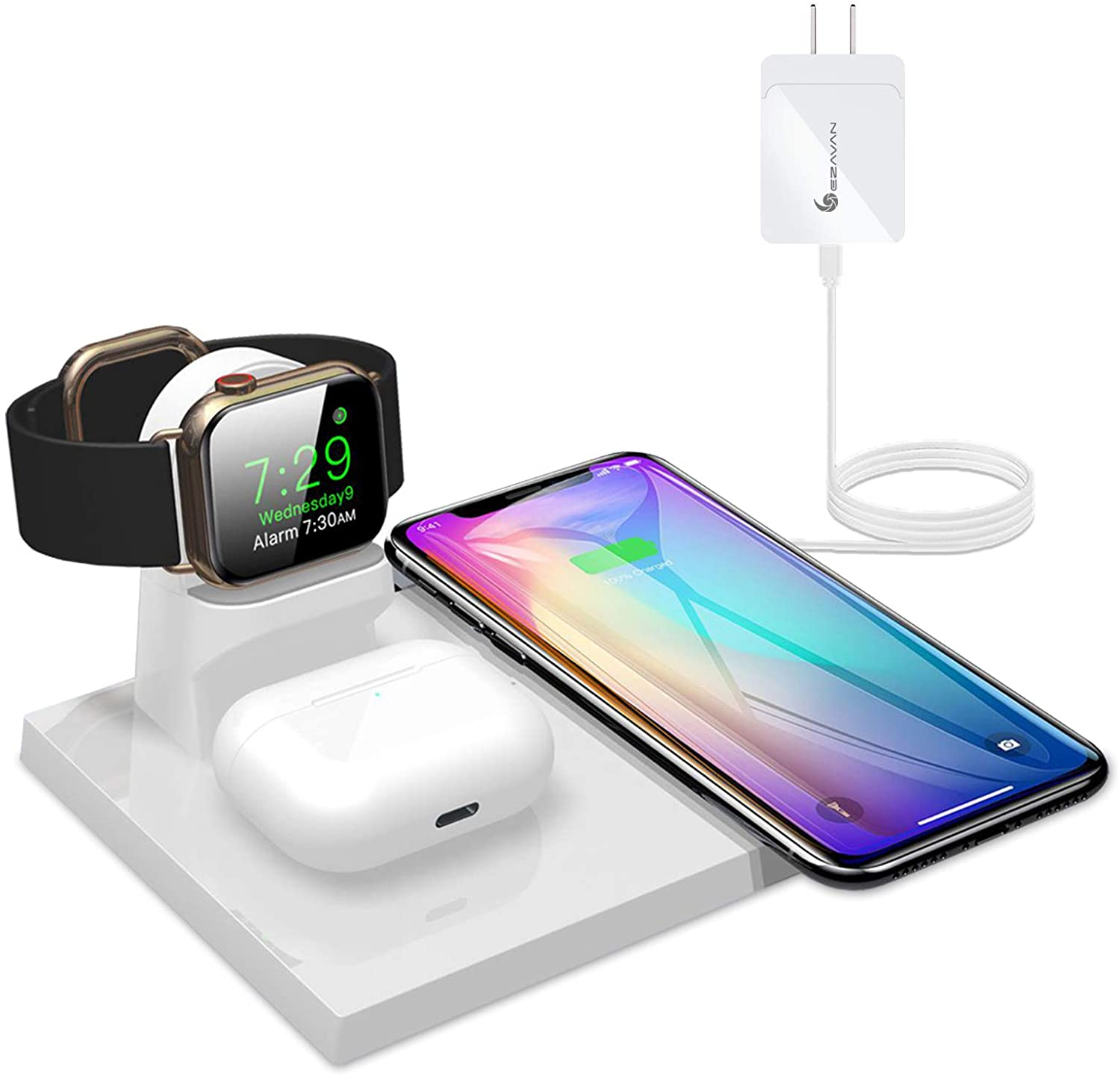 Ezavan 15W Wireless Charging Station for Apple, 3-in-1 Fast Wireless Charger Pad with QC3.0 Adapter for iPhone 11 Pro Max/Xs Max/XS/XR/8, Apple Watch, Airpods and More TWS