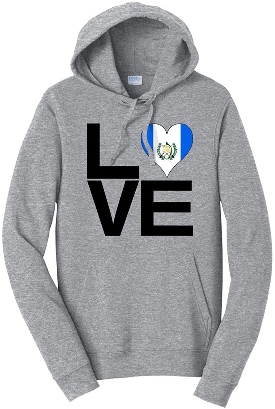 HARD EDGE DESIGN Men's Love Block Guatemala Heart Hooded Sweatshirt, 4X-Large, Heather Grey
