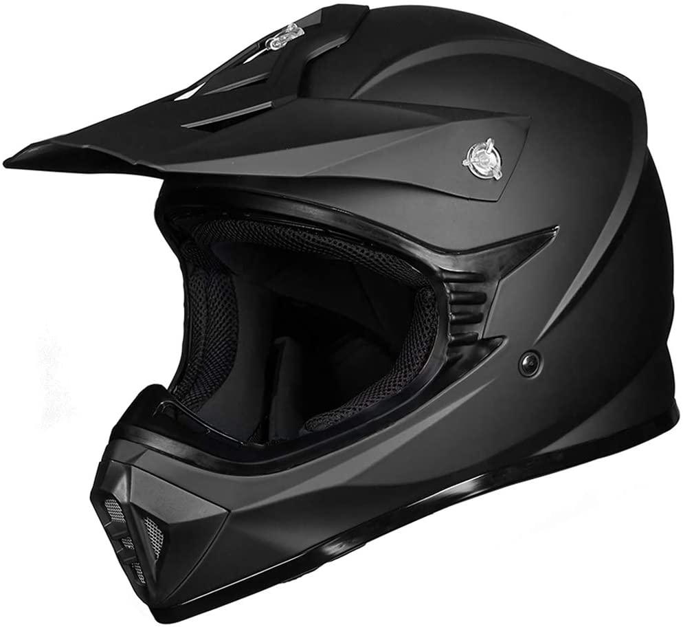 ILM Youth Kids ATV Motocross Dirt Bike Motorcycle BMX MX Downhill Off-Road MTB Mountain Bike Helmet DOT Approved (Matte Black, Youth-S)