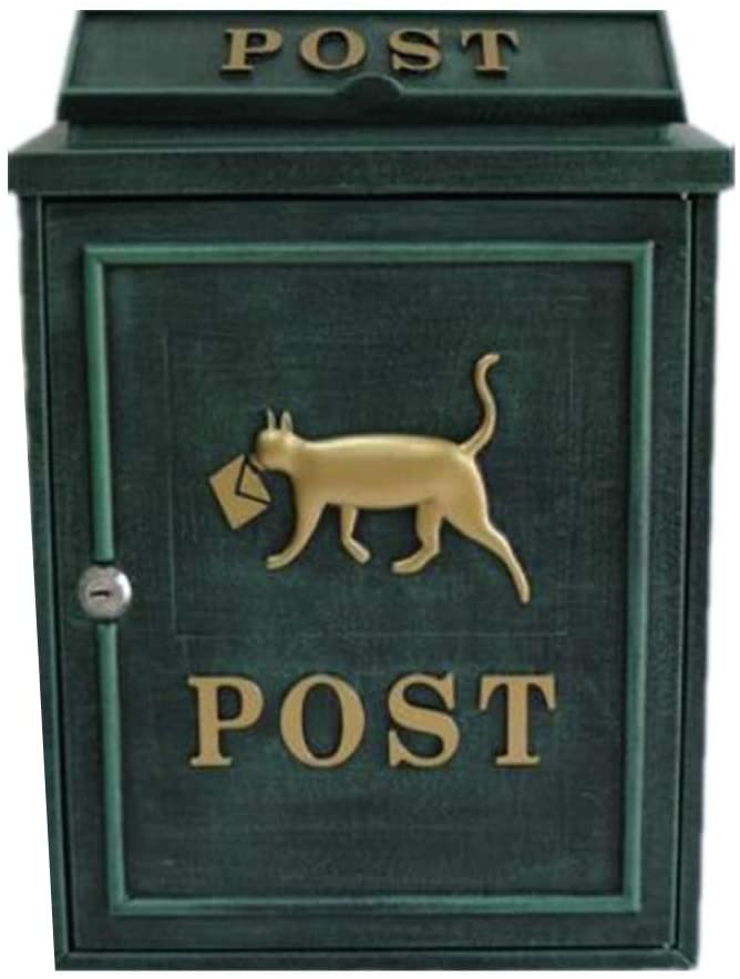 Phil Beauty Wall Mounted Lockable Mail Box Letter with Lock Villa Retro Outdoor Waterproof Household Express File Box Community Mailbox,28X12.2X35.5Cm,Green