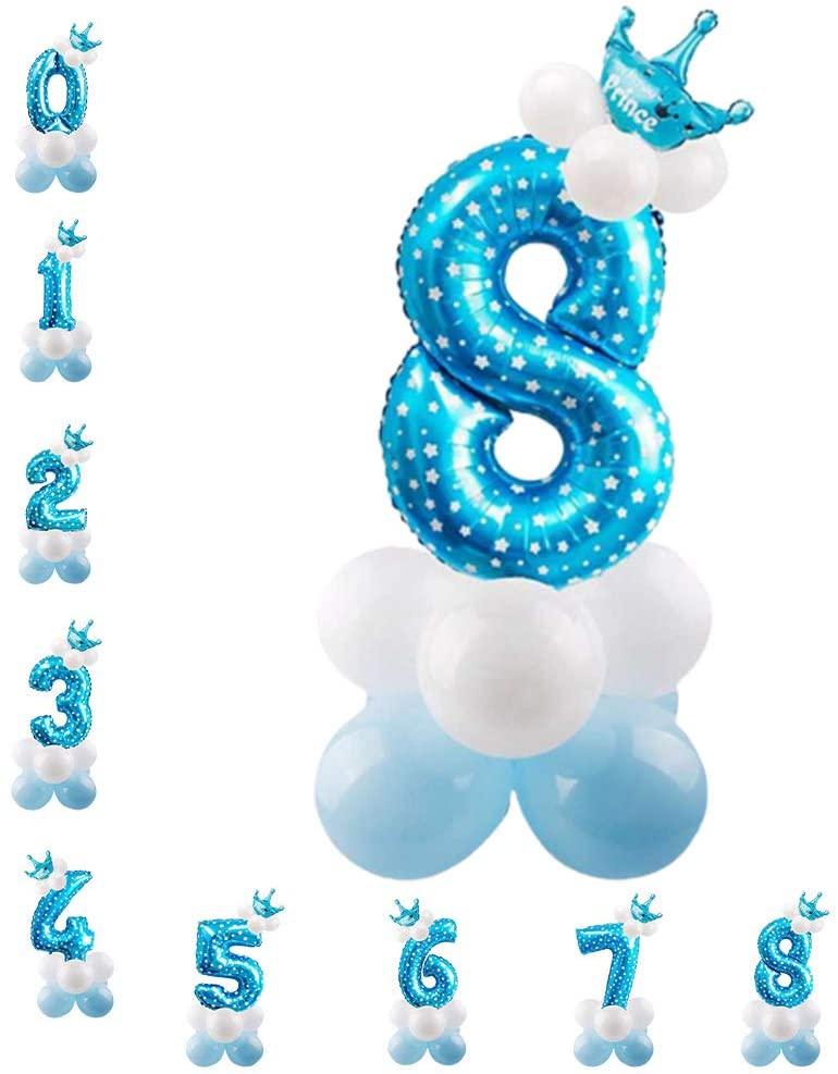 32 Inch Aluminium Foil Digital Balloons Party Supplies Kit, Premium Latex Balloons Number 8 Balloons for Kids Birthday Wedding Celebration Decoration (Blue Printing)