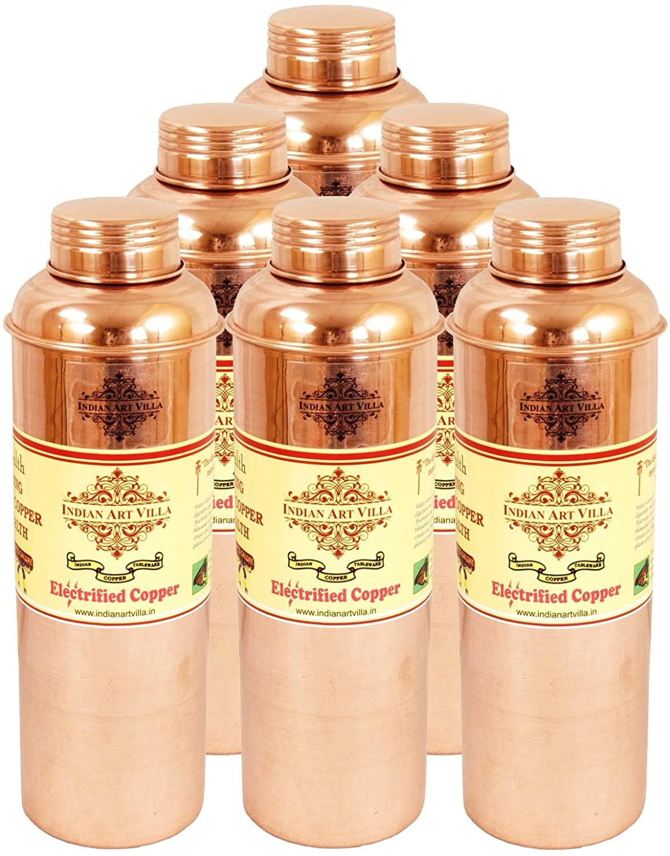 IndianArtVilla Handmade Pure Copper Set of 6 Thermos Design Water Bottle 700