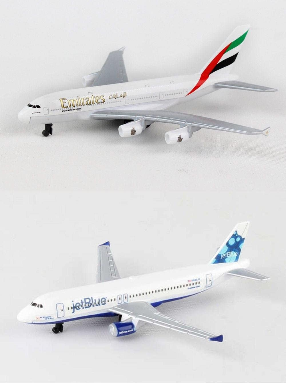 Daron Emirates, Jetblue Airlines Diecast Airplane Package - Two 5.5