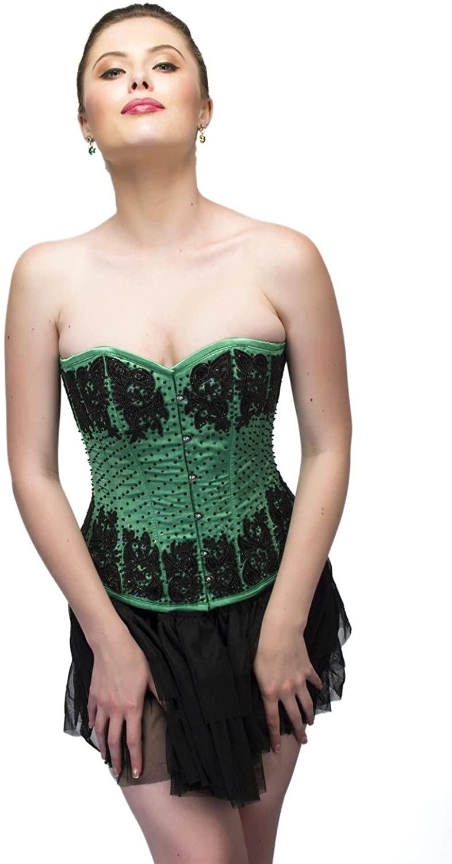 CorsetsNmore Green Satin Black Sequins Gothic Burlesque Overbust Top Tutu Skirt Corset Dress
