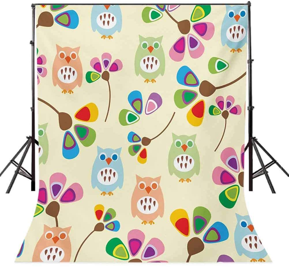 Cartoon 10x12 FT Photo Backdrops,Cute Design Owls with Flowers Leaves Branches Design for Kid Nursery Room Landscape Background for Baby Shower Bridal Wedding Studio Photography Pictures Multicolor