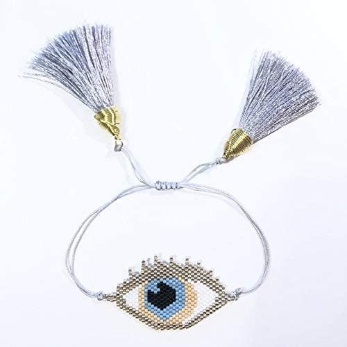 Regeek Strand Bracelets - Shinus 5pcs/lot Woven Mujer Pulseras Miyuki Bracelets Evil Eyes Women Bracelet Charm Bracelets Handmade Jewelry Delicas Beads - (Metal Color: MI-B180404B)