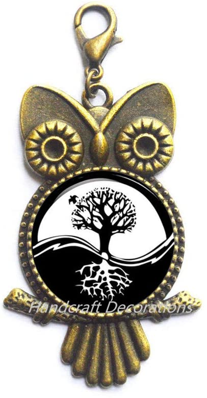 HandcraftDecorations Charm Yin-Yang Tree of Life Lobster Clasp Astrology Owl Zipper Pull Jewelery Charm Lobster Clasp for Him or Her.F271