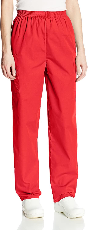 Cherokee Women's Workwear Elastic Waist Cargo Scrubs Pant, Red, Small Petite