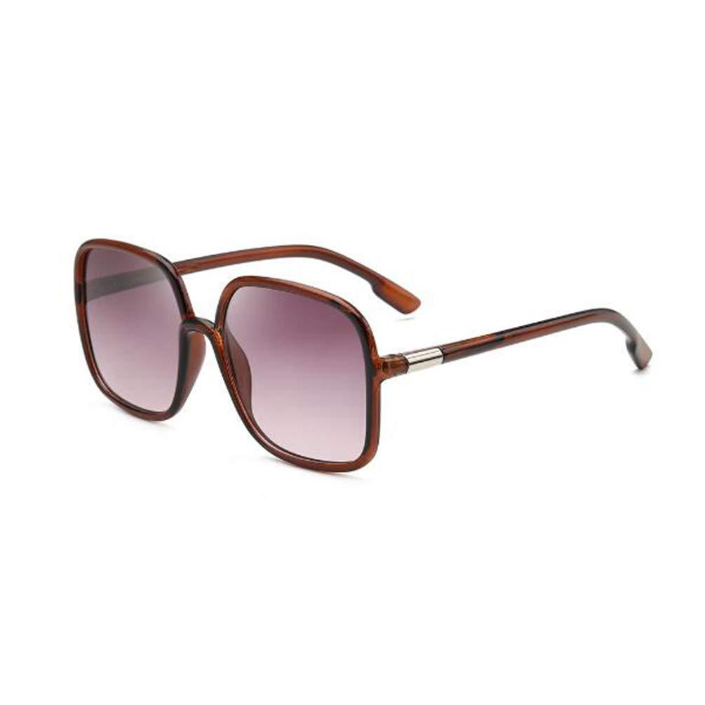 Square frame sunglasses fashion oversized frame sunglasses women's UV protection glasses (Tea Frame Progressive Purple)