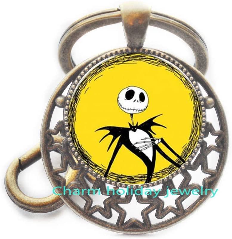Jack Skellington Keychain-Christmas Jewelry-Jack Skellington Key Ring Chain Keychain-Christmas Gift Halloween Gift Bridesmaid Jewelry Unique Jewelry-#347