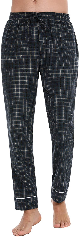 Mens Pajamas Pants 100% Cotton Plaid Soft Lounge Sleep Pj Bottoms with Pockets