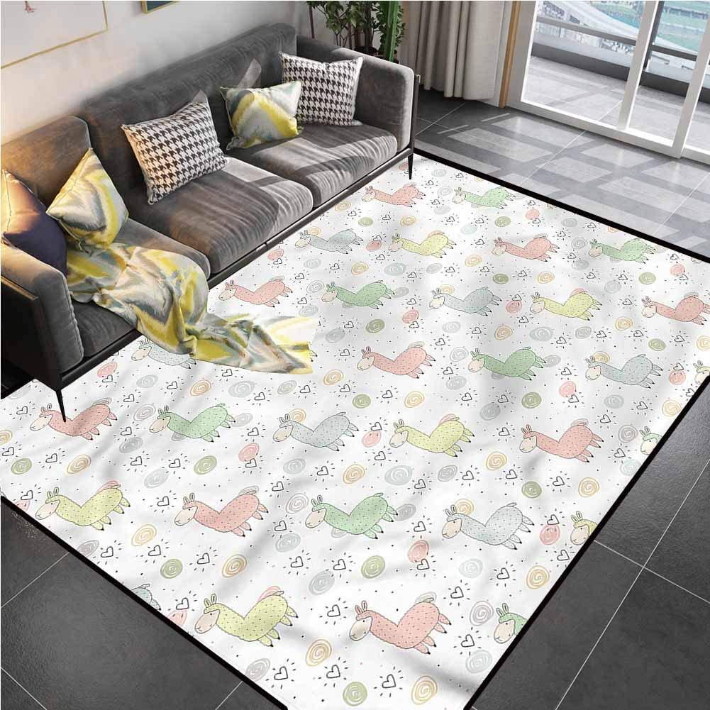 Area Rug Rugs Print Large Floor Mat Llama,Cartoon Animal Collection Rug pad for Kids Yoga Living Room Home Decor Rugs 6'6