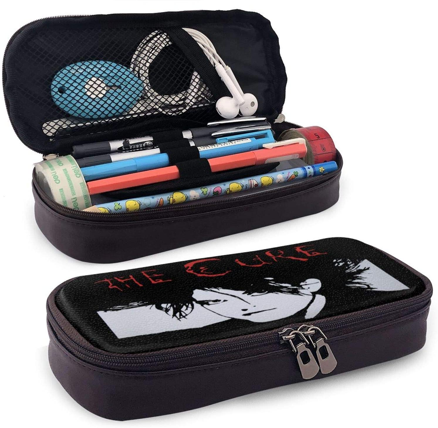 Robert Cure Smith Student Leather Pencil Case Large Capacity Pen Bag Supplies Stationery Makeup Box Organizer Pouch Double Zipper Waterproof Boys for School Office College