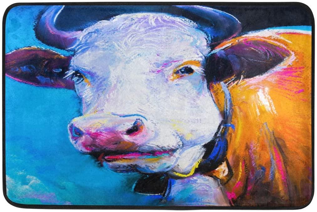 Lyetny Cow Painting Nonslip Indoor Area Rug Kitchen Hallway Bathroom Entry Rugs 23.6 X 15.7 inch