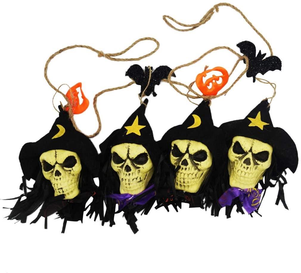 DRAGONHOO Skull String Hanging Flag Decoration Banquet Decoration Flag for Halloween (A)