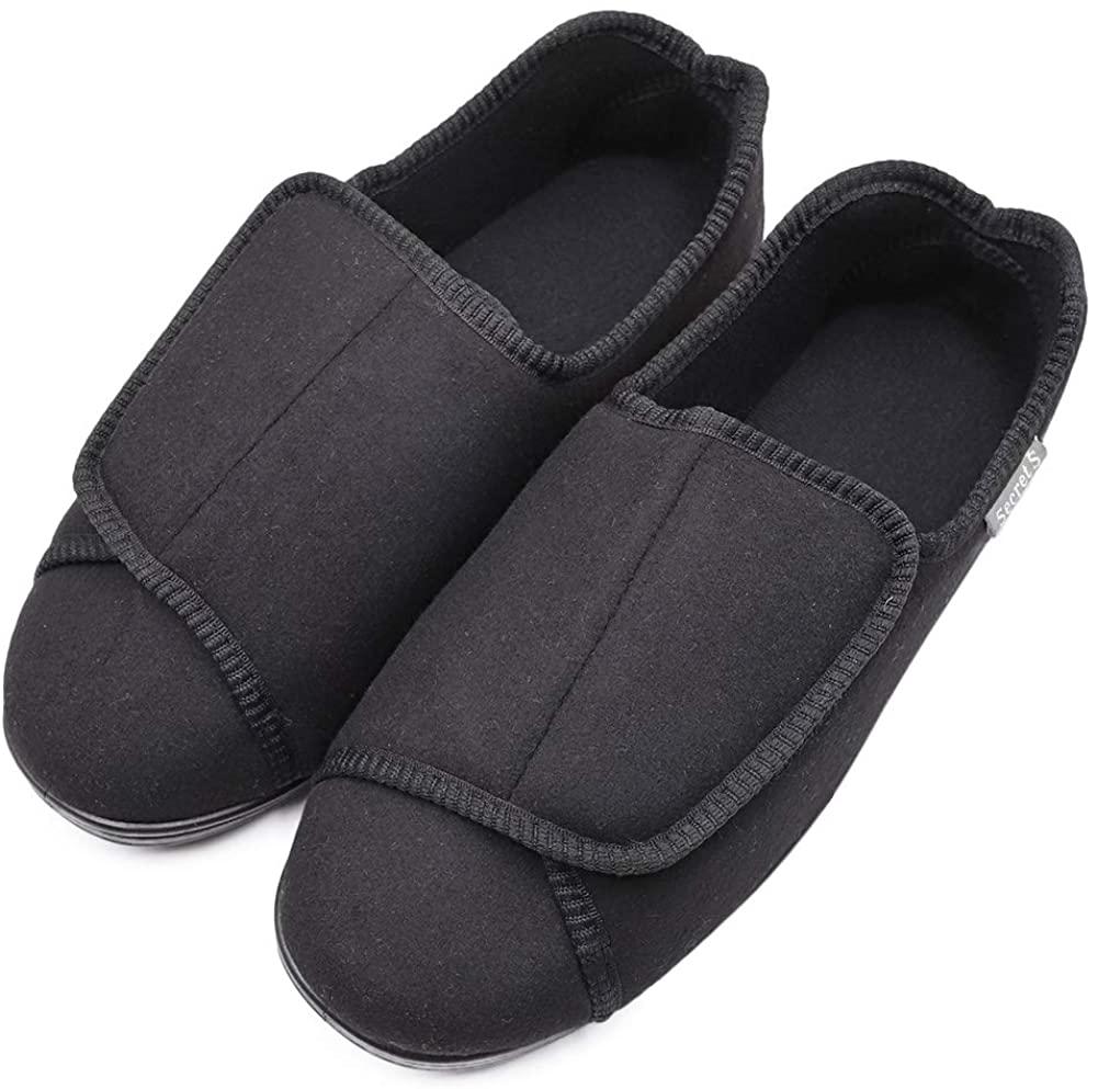 Hotme Men's Comfort Memory Foam Diabetic Slippers Extra Wide Width Adjustable Swollen Feet Arthritis Edema House Shoes with Indoor Outdoor Anti-Skid Rubber Sole