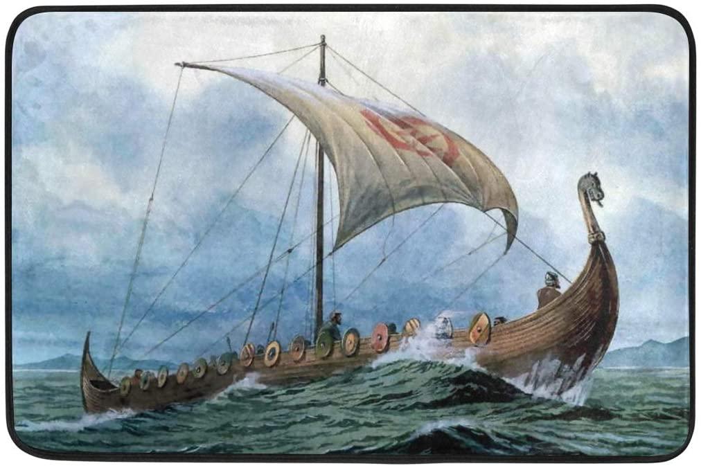 Lyetny Vikings Dragon Boat Nonslip Indoor Area Rug Kitchen Hallway Bathroom Entry Rugs 23.6 X 15.7 inch